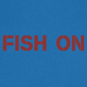 fish on writing dark red - Men's V-Neck T-Shirt