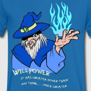 Willpower Wizard Blue/Light Blue Flame - Mannen T-shirt met V-hals