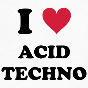 I LOVE TECHNO ACID - T-skjorte med V-utsnitt for menn