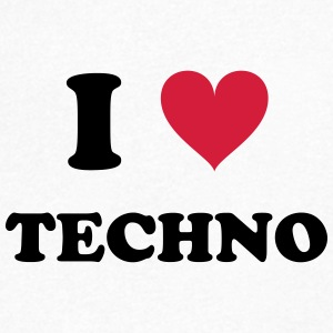 I LOVE TECHNO - T-skjorte med V-utsnitt for menn
