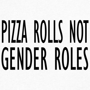 Pizza rolls not gender roles - Mannen T-shirt met V-hals