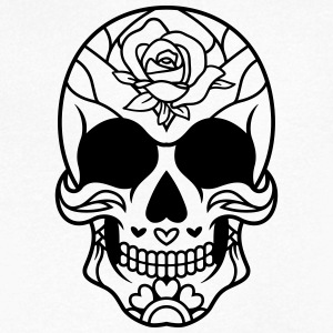 Mexican Sugar Skull rose / sugarskull - Men's V-Neck T-Shirt