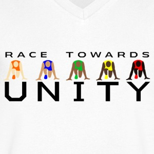 Race Towards Unity by JuiceMan Benji - Men's V-Neck T-Shirt