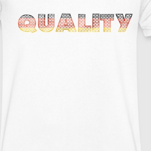 Quality on a wall with German colors - Men's V-Neck T-Shirt
