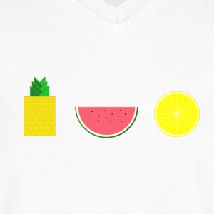DIGITAL FRUIT pineapple lemon melon - Men's V-Neck T-Shirt