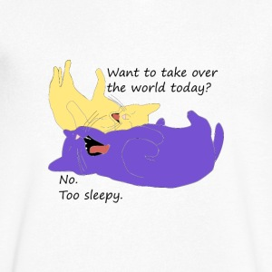 Sleepy cat world domination fail - Men's V-Neck T-Shirt