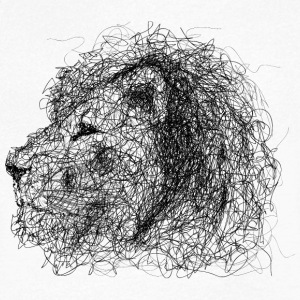 Lion Scribble - T-skjorte med V-utsnitt for menn