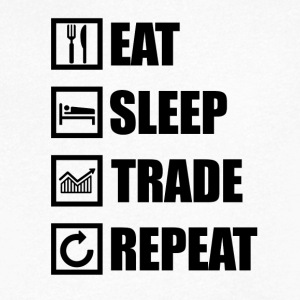 EAT SLEEP TRADE REPEAT - Koszulka męska Canvas z dekoltem w serek