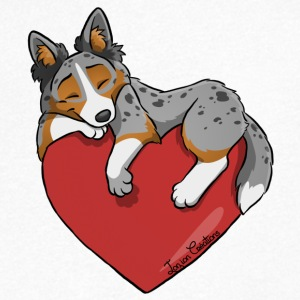 Border Collie Blue Merle Tricolor Heart - Mannen T-shirt met V-hals
