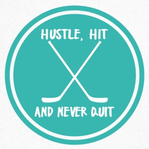 Hockey: Hustle, Hit en nooit stoppen. - Mannen T-shirt met V-hals