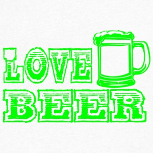 LOVE BEER green - T-shirt med v-ringning herr