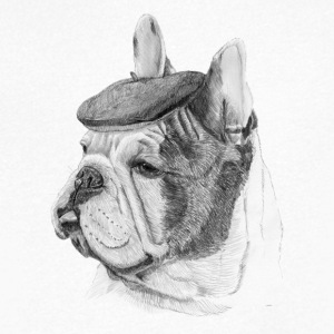 French Bulldog m / rapport - T-skjorte med V-utsnitt for menn