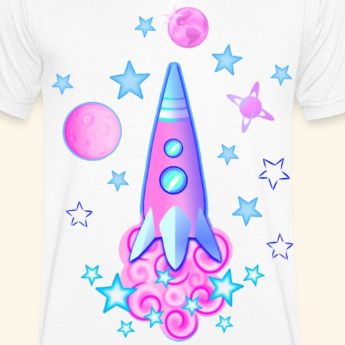 pink space rocket with stars and planets - Men's Organic V-Neck T-Shirt by Stanley & Stella
