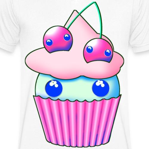 Söt muffins med rosa körsbär och ögon - Ekologisk T-shirt med V-ringning herr från Stanley & Stella