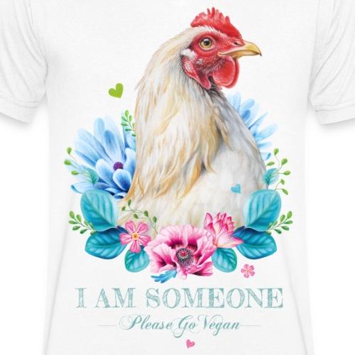 Hen met bloemen - Mannen bio T-shirt met V-hals van Stanley & Stella