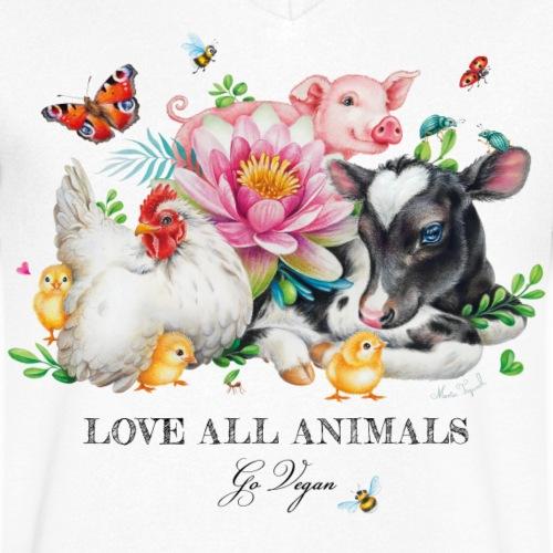 Go vegan - Mannen bio T-shirt met V-hals van Stanley & Stella