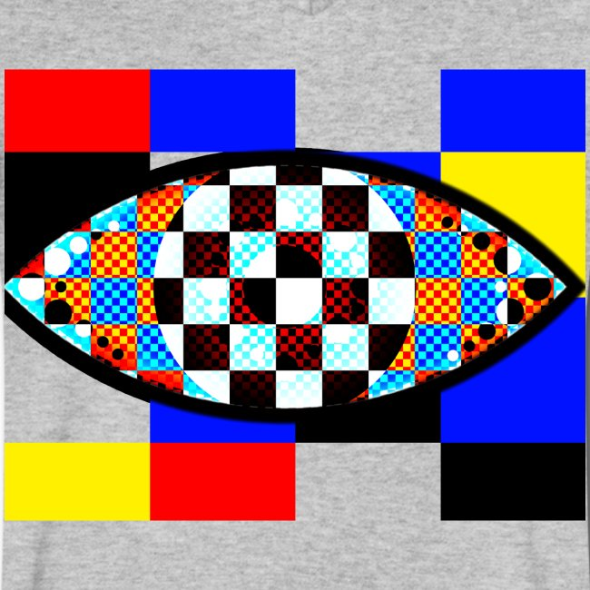 eye with squares in strong colors
