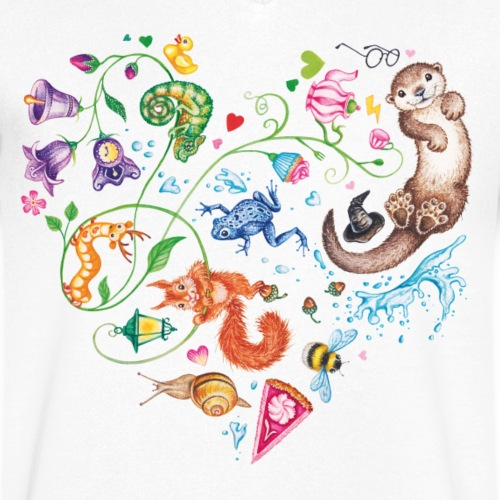 Heart by Maria Tiqwah - Men's Organic V-Neck T-Shirt by Stanley & Stella