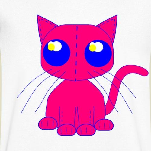 katt av tyg stark rosa med stora blå ögon - Men's Organic V-Neck T-Shirt by Stanley & Stella