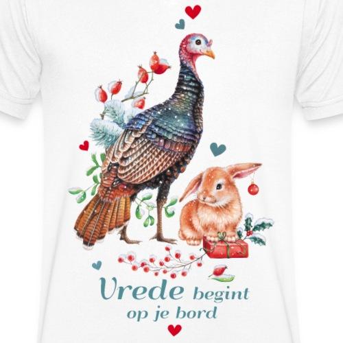Vrede begint op je bord - Mannen bio T-shirt met V-hals van Stanley & Stella