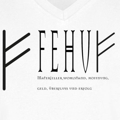 Runen - Fehu - Schriftzug Schwarz - Männer Bio-T-Shirt mit V-Ausschnitt von Stanley & Stella