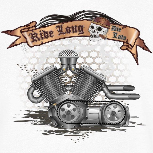 Biker T-shirt mit V Motor & Totenkopf