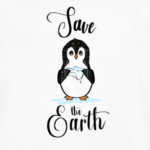 save the Earth, penguin with melting ice - T-shirt ecologica da uomo con scollo a V di Stanley & Stella