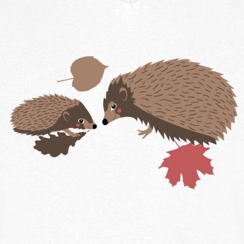 Igel Herbstfreunde beraten sich im Laub - Männer Bio-T-Shirt mit V-Ausschnitt von Stanley & Stella