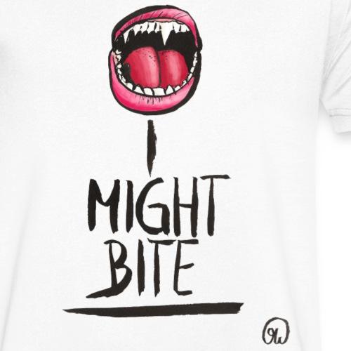 I might bite - Vampir Zähne geöffneter Mund - Männer Bio-T-Shirt mit V-Ausschnitt von Stanley & Stella