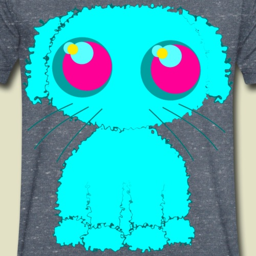 Dog, turquoise puppy with big pink eyes - Men's Organic V-Neck T-Shirt by Stanley & Stella