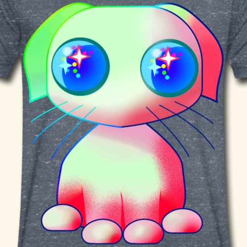 Dog, puppy in Japanese cartoon style with big eyes - Men's Organic V-Neck T-Shirt by Stanley & Stella