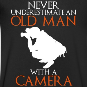Never Underestimate Old Man with Camera - Men's V-Neck T-Shirt