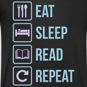 Eat Sleep Läs Repeat - T-shirt med v-ringning herr