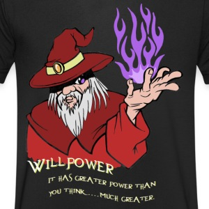 Viljestyrka Red Wizard / Purple Flame - T-shirt med v-ringning herr