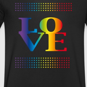 love love colorful rainbow gay pride csd valentins - Men's V-Neck T-Shirt