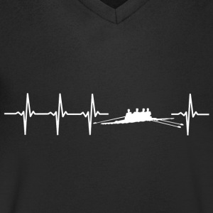I love rowing (rower heartbeat) - Men's V-Neck T-Shirt
