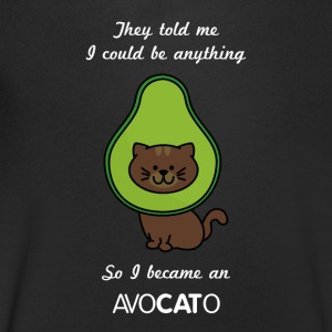 Avocado Funny Cat - T-skjorte med V-utsnitt for menn