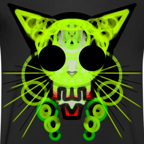 cat skeleton skull light green in deep black - Men's Organic V-Neck T-Shirt by Stanley & Stella