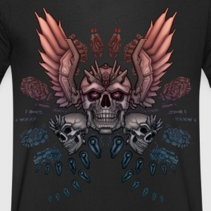 Mechanical Skull + Wings - Men's V-Neck T-Shirt
