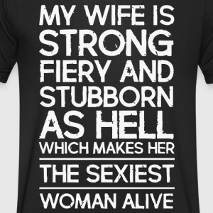 My wife is strong fiery - Men's V-Neck T-Shirt