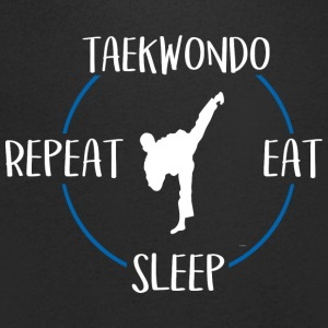 Teakwondo, Eat, Sleep, Repeat - T-skjorte med V-utsnitt for menn