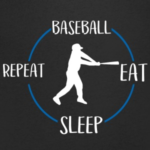 Baseball, Eat, Sleep, Repeat - T-skjorte med V-utsnitt for menn