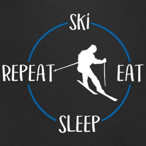 Ski, Eat, Sleep, Repeat - T-skjorte med V-utsnitt for menn