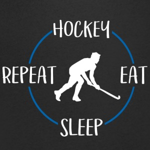 Hockey, Eat, Sleep, Repeat - T-skjorte med V-utsnitt for menn