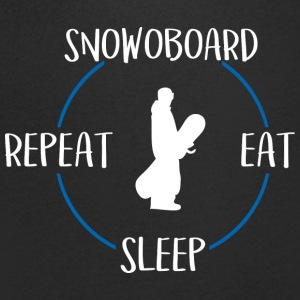 Snowboard, Eat, Sleep, Repeat - T-skjorte med V-utsnitt for menn