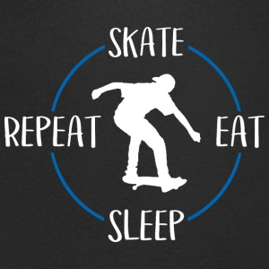 Skate, Eat, Sleep, Repeat - T-skjorte med V-utsnitt for menn