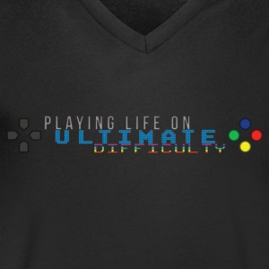 Playing Life On Ultimate Difficulty by JuiceMan - Men's V-Neck T-Shirt