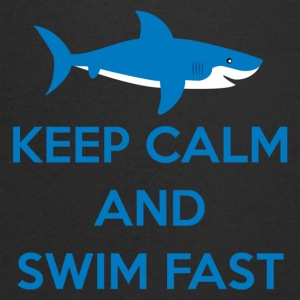 Svømning / float: Keep Calm And Swim Fast - Herre T-shirt med V-udskæring