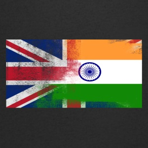 British Indian Half India Half UK Flag - T-shirt med v-ringning herr