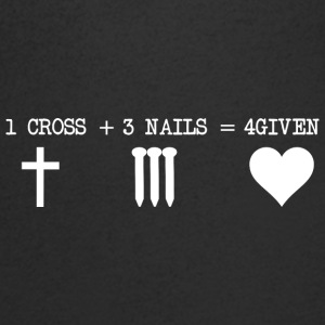 CROSS 1 + 3 + NAILS 4GIVEN - T-skjorte med V-utsnitt for menn